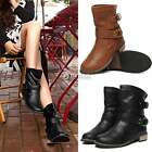 Women Chunky Fashion 4 sizes Leather Shoes Flat Heel Short Boots Mid Calf Boots