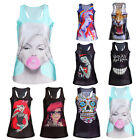 Women's Singlet Vest Tank Tops Stretchy Blouse Gothic Punk Rock T-Shirt UF