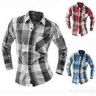 Fshion Mens Korean Luxury Casual plaid Slim Fit Long Sleeve Shirts Dress Shirts