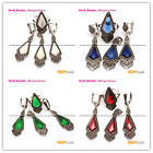New Rhombus Beads Antiqued Tibetan Silver Earring Pendant Ring Sets,6 Materials