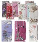 Flip Luxury Leather Wallet Rhinestone Cover Folio Case with Bling Girly Designs