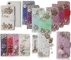 3D Bling Luxury Pearl Flip Leather Wallet Case with Rhinestones for Girls Women