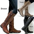 New Women Bp17 Brown Taupe Black Lace Up Riding Knee High Boots Sz 6 To 11