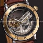 3 Colours Transparent Skeleton Mens Leather Automatic Mechanical Wrist Watch UK