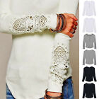 HOT Women Slim Fit Long Sleeve Crewneck Loose T-shirt Lace Cotton Basic Tops