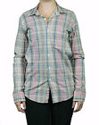 STEVEN ALAN Tan Plaid Long Sleeve Cotton Boyfriend Shirt WST0023CT NWT $158