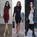 Womens Ladies Autumn Winter Knit Casual Long Sleeve Sweater Slim BodyCon Dress