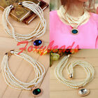 Women Bib Choker Multilayer Gemstone Gem Faux Pearl Round Beads Necklace Gift