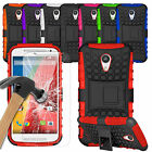 Heavy Duty Dual Shockproof Case Cover & Tempered Glass For Latest 2015 Phones