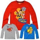 Boys Paw Patrol T Shirt New Kids Cotton Rich Long Sleeved T Shirt Ages 3-6 Years