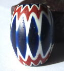 RARE OLD AMAZING LARGE 6 LAYER AFRICAN TRADE OVAL VENETIAN CHEVRON GLASS BEAD