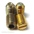 "1/4 x 3/8"" BSF Brass Slotted And A2 Stainless Steel Socket Grub Screws"
