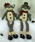 35062 Winter Fox Dangle Legs Button Sitter Doll Christmas Decoration Grey Forest