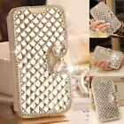 Premium Crystal Bling Rhinestone Diamond Leather Wallet Case For iPhone & Galaxy