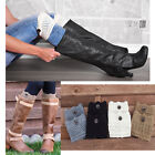Winter Leg Warmers Knit Crochet Button Trim Toppers Boot Cuffs Socks For Womens