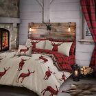 Duvet Cover with Pillowcase Stag Deer Quilt Cover Bedding Set Reversible Check