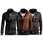 New Fashion Men's PU Leather Jacket Biker Slim Fit Motorcycle Jacket Blazer