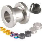 Pair surgical stainless steel flesh tunnels screw ear gauge plugs stretcher 9HEV