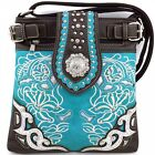 Embroidered Western Rhinestone Concho Messenger Bag Cross Body Purse