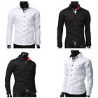 Stylish Business Men Luxury Casual Dress Shirts Tee Tops Button Front T Shirts