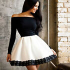 Womens One Shoulder Skirt Dress Lace Skater Ladies Party Mini Dress