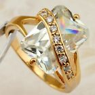 Size 6 7 8 10 Beauty White Radiant CZ Jewelry Rose Gold Filled Woman Ring R2284