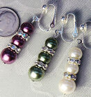 CHOOSE: Purple, Green, Cream Glass Pearl Crystal CLIP ON Earrings *One Pair