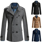 Double Breasted Peacoat Mens Winter Coat Jacket Trench Outwear Parka Windbreaker