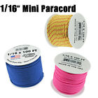 Mini Paracord 1/16? (2mm) 110lb Tensile Strength 100 Foot Spools Various Colors