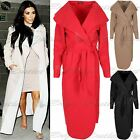 Womens Waterfall Belted Long Sleeve Cardigan Duster Ladies Celeb Trench Coat