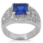 ESTATE FILIGREE Sapphire & Russian CZ .925 Sterling Silver Ring Sizes 5-9
