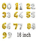 16'' Foil Balloon Number 0-9 Gold Silver Color for Wedding Birthday Party Decor