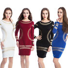 Women Long Sleeve Slim Bodycon Pencil Mini Dress Cocktail Party Evening Clubwear