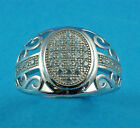 New Boxed Mens Sterling Silver CZ Ring 15mm V UK Size 925 Hallmarked