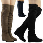 WOMENS LADIES OVER THE KNEE THIGH MID HEEL BOOTS LONG PULL ON WEDGE SHOES SIZE