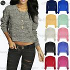 Womens Oversized Jumper Ladies Baggy Chunky Knitted Long Sleeve Crop Cropped Top