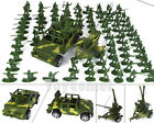 100 Pcs Military Green Plastic Toy Soldiers Army Men W/ Jeep Cannon Vehicle Set