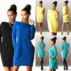 Womens Sexy Pockets Jumper Ladies Tops Bodycon Party Club Evening Mini Dress