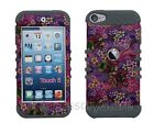 For iPod Touch 5th 6th GEN Colorful Flowers Hybrid Rugged Armor Protective Case