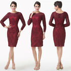 Formal Sleeve Mother Of The Bride Dress Lace Applique Wedding Guest Evening Gown