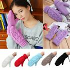 Women Lady Winter Warm Vintage Knitted Wool Gloves Twist Knit Mitten Full Finger