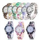 Fashion Women's Casual Flower Gel Silicone Jelly Analog Wrist Watch WristWatch