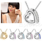 Women's Heart Charm Rhinestone Pendant Clavicle Necklace Chain Jewelry Fashion