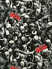 THE WALKING DEAD grey print  : 100% cotton fabric : by the 1/2 metre
