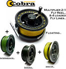 Cobra MULTIPLIER FLY FISHING REEL & 4 Loaded Fly Lines : Float/Int/Sink+SINK-TIP