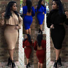 UK Hot Women Sexy Two Piece Outfits Long Sleeve Cape Set Party Dress Club Skirt