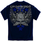 New Blue T-Shirt with Elite Breed Law Enforcement Design with Chrome Accents