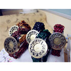 Vintage Retro Women Braid Weave Woven Leather Quartz Dress Bracelet Wrist Watch