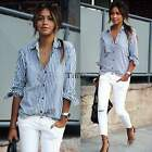 Ladies Women's Cotton Button Down Casual Lapel Shirt Striped Casual Tops Blouse