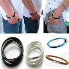 Men's Women Fashion Braided Leather Steel Magnetic Clasp Cool Bracelet Handmade